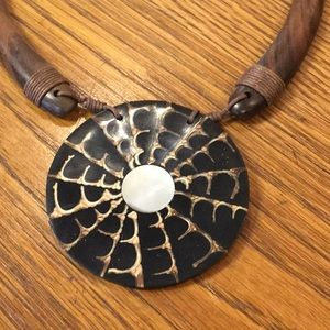 Paco Designs Jewelry - Gorgeous wood and shell Bali Necklace. Adjustable